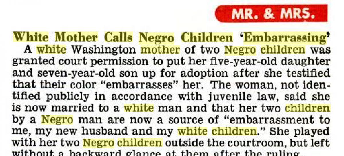 "Jet Magazine Headline: ""White Mother Calls Negro Children Embarrassing"""