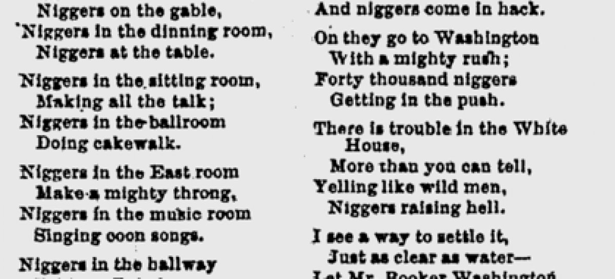 "N**gers in the White House"" Poem Written After Booker T ..."