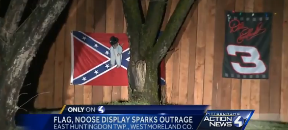 Knifed Black Baby Doll Hanging From Noose With Confederate Flag in Background Displayed in Pa.