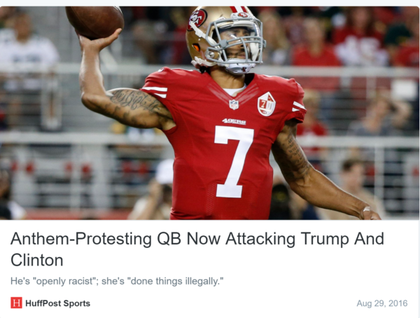 So Are We Just Not Going to Talk About Colin Kaepernick Believing Hillary Clinton Belongs in Prison?