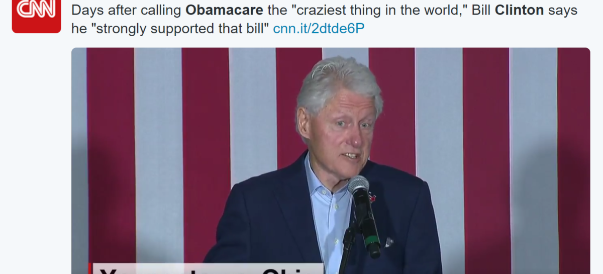 "Bill Clinton Tries to Clear Up Calling Obamacare ""The Craziest Thing"""